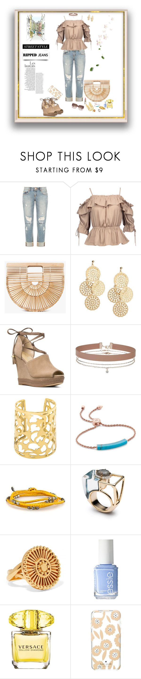 """""""Ripped jeans Style"""" by deborah-518 ❤ liked on Polyvore featuring OneTeaspoon, W118 by Walter Baker, Cult Gaia, MICHAEL Michael Kors, Miss Selfridge, Monica Vinader, Chloé, Essie, Versace and Kate Spade"""