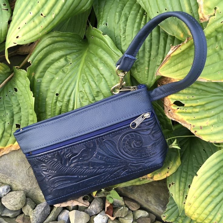 Navy Blue Italian Leather wristlet clutch wallet iPhone case mini purse handbag pockets zippers everyday  function Pat Halpen Leather
