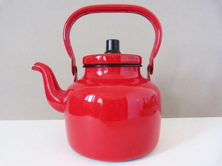 Vintage Kockums enamel kettle / teapot Sweden by planetutopia on Etsy