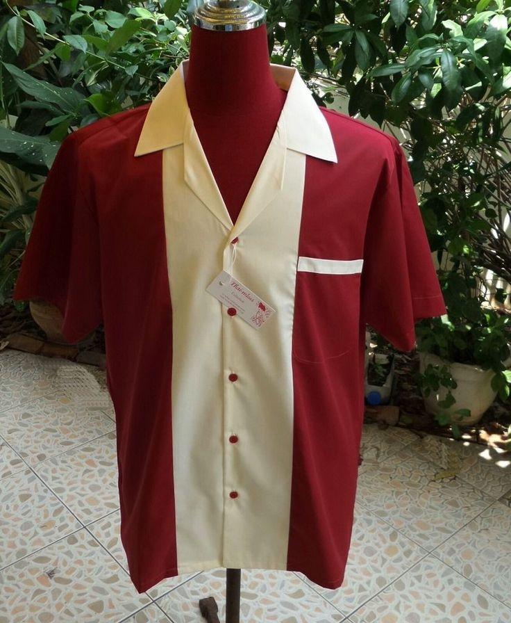Handmade Mens Rockabilly, Vintage, Retro Style Bowling Shirt Burgundy – Judes Rockabilly Plus