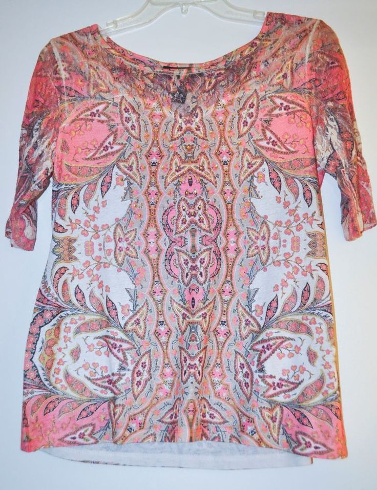 Style&Co. Women Top Floral Stud Henley 3/4 Sleeve Multi-Color Petite size M NEW #Styleco #Blouse #Casual