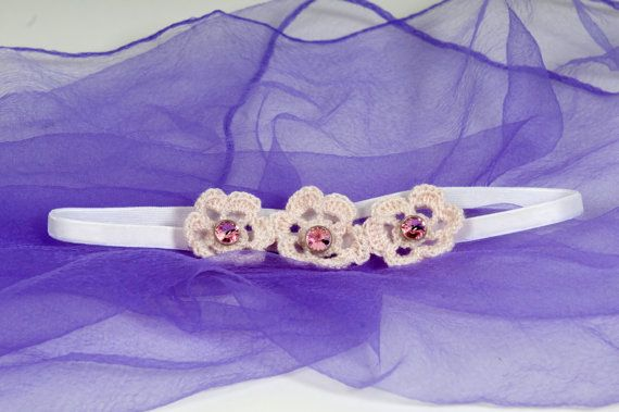 Crochet flowers elastic velvet headband  Swarovski by Chrisin, €8.60