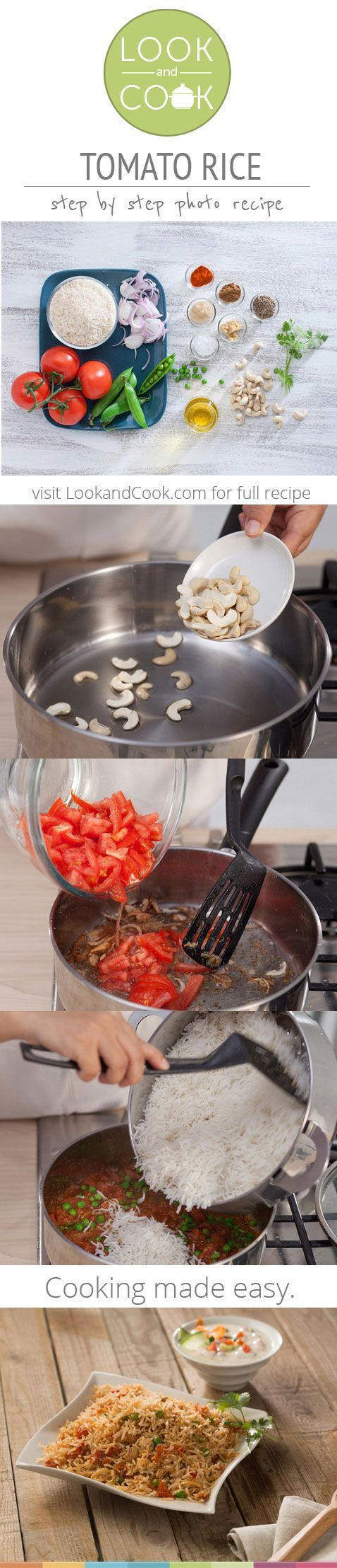 TOMATO RICE (LC 14058) - Tomato tice, a South Indian rice recipe is popular and made with fresh tomatoes