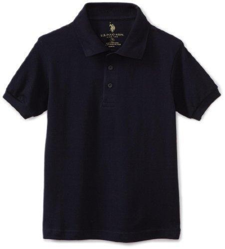 U.S. Polo Association School Uniform Big Boys' Short Sleeve Pique Polo Shirt Navy 10/12