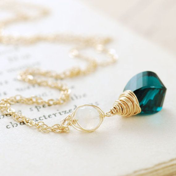 Teal Gemstone and Moonstone Pendant Necklace by aubepine jewelry #handmadejewelry #necklace #moonstone #gemstone
