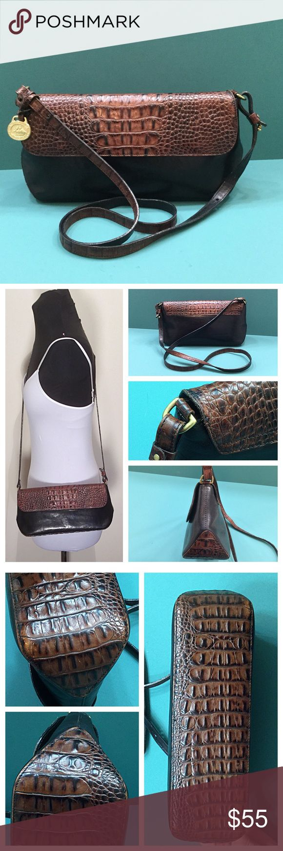 "Vintage Brahmin Two Tone Crossbody 🚫Trades/Holds🚫 Brahmin Crossbody *  Black/pecan croc-embossed leather *  ""Eye' perfectly placed on flap, embossing is well-defined *  Front flap w/ dual magnetic closure *  Classic 'chamois"" lining w/ zip + 2 slip pockets, key clip *  About 11.5"" x .5 x 3, strap drop=22"" (can be shortened about 1.5"") *  Pre-loved & vintage so some visible wear, mainly one corner, minor scratches/scuffs, lining has light soiling/pen dots, freshly conditioned Plz ask ?s if…"