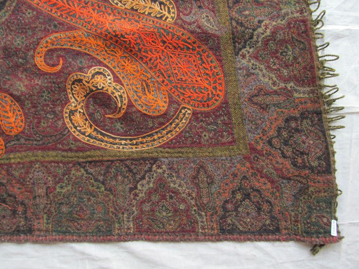 BOILED WOOL SHAWL PAISLEY HAND EMBROIDERY DESIGN JAMAWAR CASHMERE THROW BED 3994