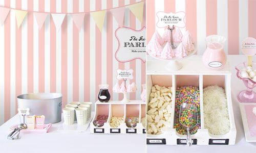 love the old style parlour labels for the dessert table! Also like the slotted containers for the candy... could reuse after for mail or as a charging station or something...