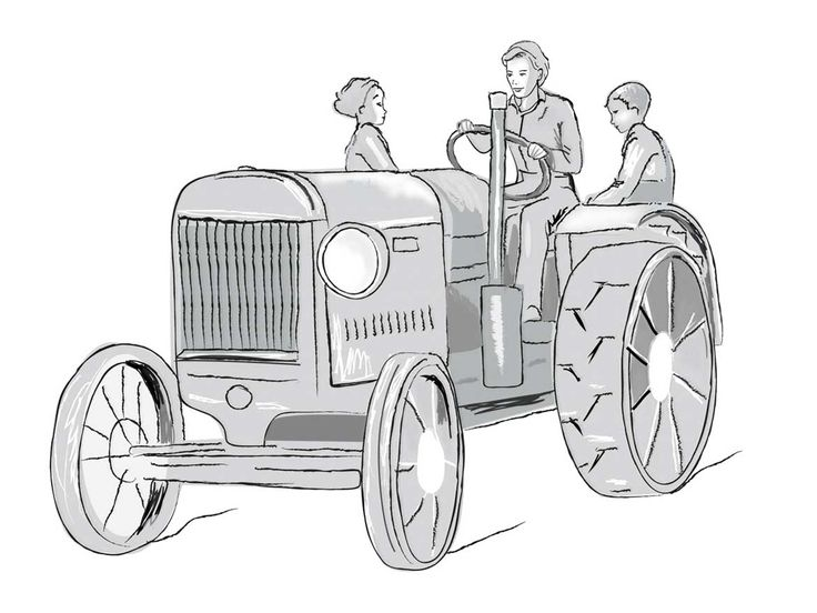 Ros And Thomas Donaldson aged 4 and 6, riding on mudguards while their mother, Frances Donaldson, ploughs a field, driving a Fordson Tractor. ?Health and sahety!!