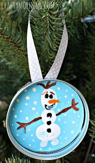 Fingerprint Frozen Olaf Christmas Ornament for Kids to make - Use a mason jar lid! | CraftyMorning.com