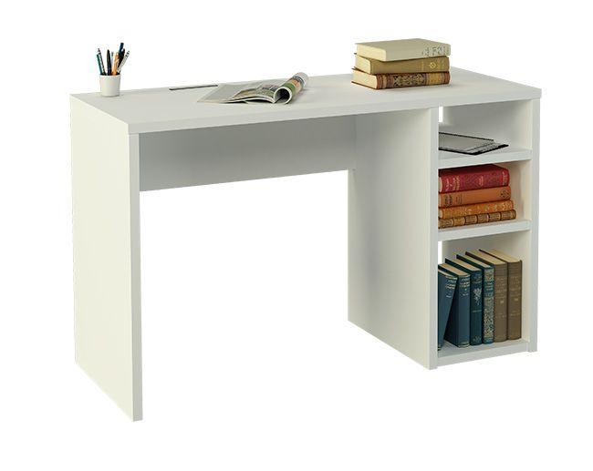 mesa de escritorio blanca con una pata estantera realizada en melamina de mm haciendo que