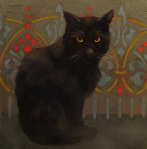 "Daily Paintworks - ""Brooding Black Cat"" - Original Fine Art for Sale - © Diane Hoeptner"