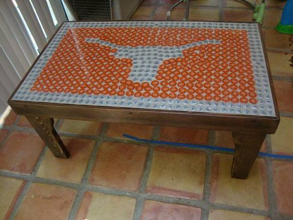 Texas Longhorn Bottle Cap Table Rustic Reclaimed Wood On Etsy 275 00