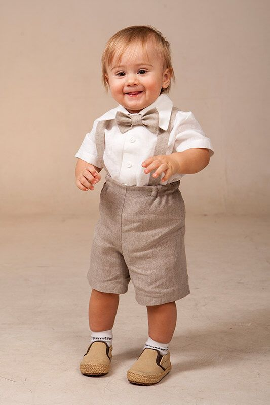 Baby Boy Suspenders Suit Ring Bearer Outfit Linen Baptism Shorts With Rustic Wedding Formal Natural Color