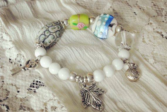 A Dream on the Ocean beadwork bracelet with charms