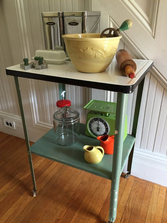 ROLLING TABLE Midcentury Utility Cart Kitchen Worksurface Endtable Metal White Black Enamel Green Paint Industrial Shabby Chic