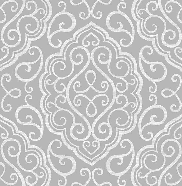 Heavenly Grey Damask Wallpaper - Wallpaper