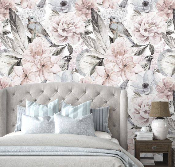 Big Flower Patterns are Back! Floral Decor is strongly in vogue in the interior design. The latest trend of floral home decor design mixes large prints floral designs and moody palettes to give your room a dramatic charm. Choose a wall, such as your bed wall to decorate with a floral mural to accent a focal point wall. Beautiful Flower and Birds Wall Art!  ★ MATERIAL We use matte finish self adhesive fabric wallpaper. It is very easy to use, it goes up in minutes!! These Blossom Floral…