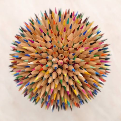 A very creative way to make use of old color pencils!