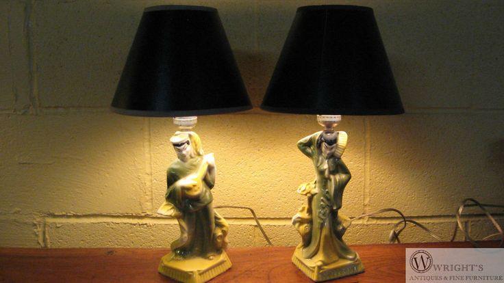 Pair Mid Century Asian Oriental Mandolin Player & Geisha Dancer Lamps