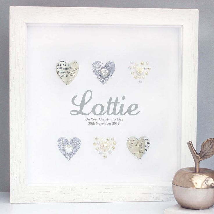 Personalised Neutral Christening Pearl Hearts