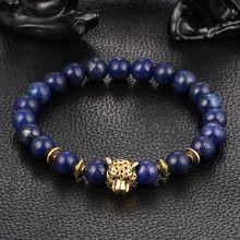 Pulseras mujer banhado a ouro Leopard cabeça Bead buda pulseira Natural pedra de Lava Matte olho de tigre homens e mulheres pulseiras E0433(China (Mainland))