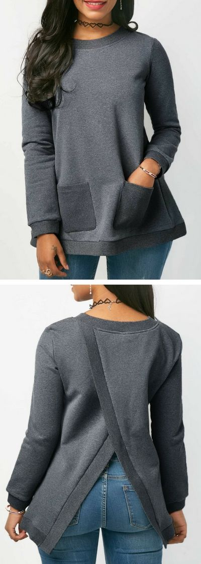 Long Sleeve Grey Crossover Back Pocket Blouse.