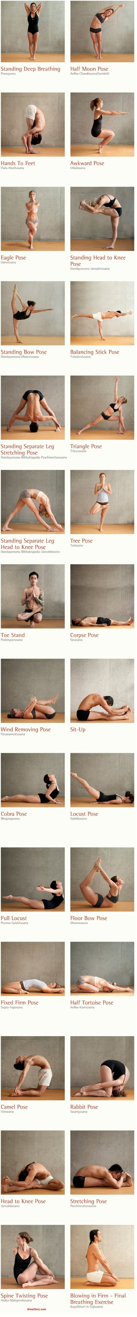 The 26 bikram yoga poses and 2 breathing exercises. A nice morning routine
