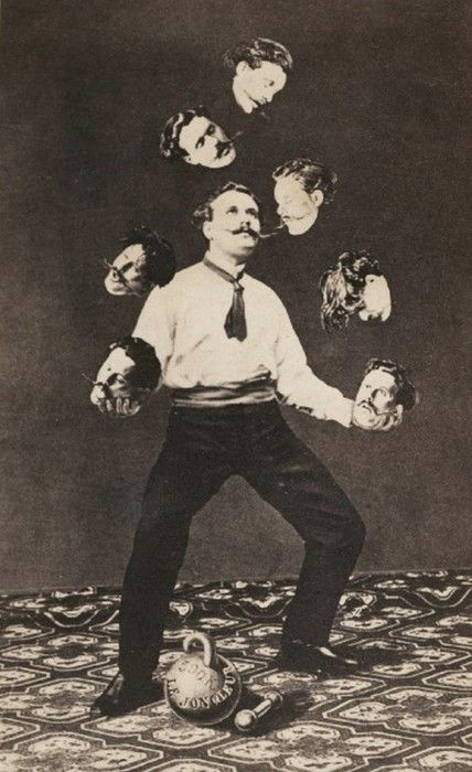 Surrealistic picture of a vintage juggler. I love that the juggling props are actually his head..