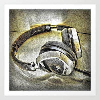 Headphones III Art Print by AngelEowyn - $17.16