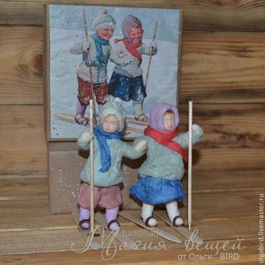 Новый год 2016 ручной работы. Ватная елочная игрушка ДЕТКИ С ОТКРЫТКИ Детки на лыжах. Магия вещей (OlgaBIRD). Интернет-магазин Ярмарка Мастеров.