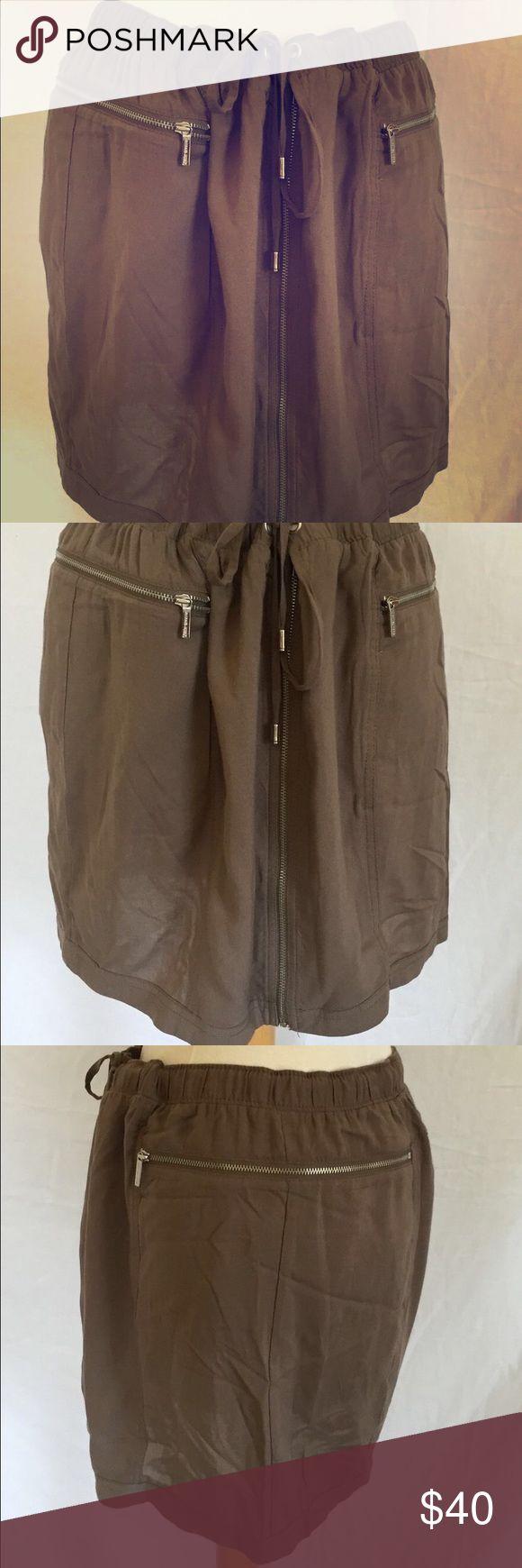 Michael Kors olive green brown zipper front skirt Michael Kors olive green brown zipper front skirt size 10. NWOT. MICHAEL Michael Kors Skirts Mini