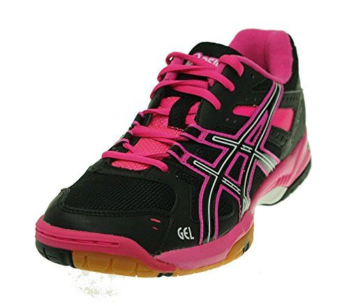 ASICS Women's Gel-Rocket 6 Volleyball Shoe Black/Hot Pink/White 9.5 B(M) US.  Material: Synthetic. Measurements: 1