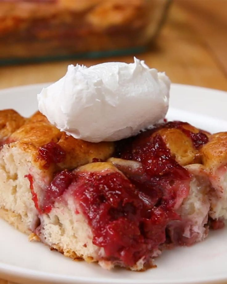 Strawberry French Toast Bake- Delish! And except for dicing and cooking the berries, easy too!