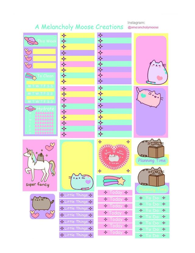 Free Printable Pusheen Planner Stickers