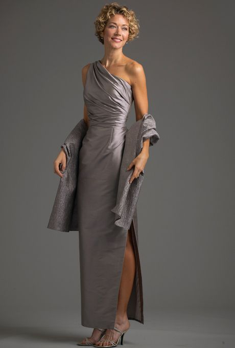 Brides: Siri. Palm Desert Gown with Shawl. Young and glamorous defines this sleek one-shoulder look. Many shantung colors have embroidered or textured fabrics such as in this crinkled shantung shawl that coordinate with the gown. Made in USA.
