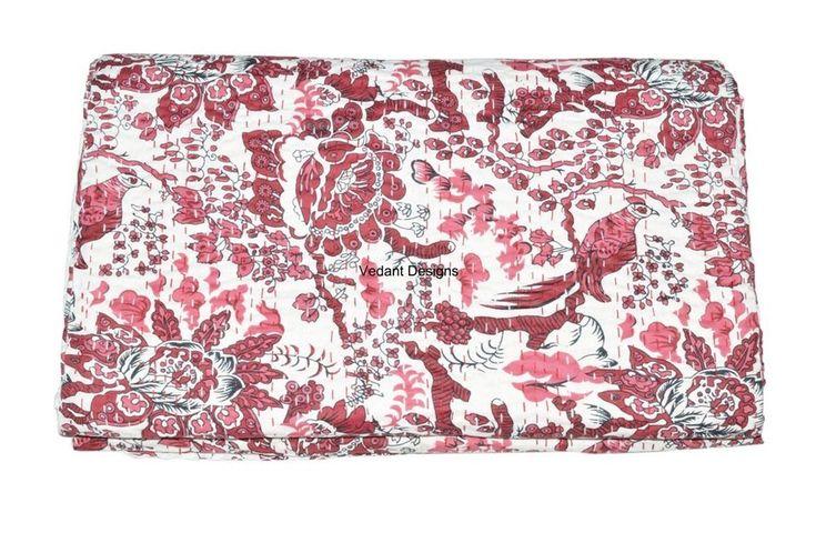 Indian Twin Kantha Quilt Bird Print Designer Cotton Bedspread Ethnic Vintage  #Handmade #Traditional