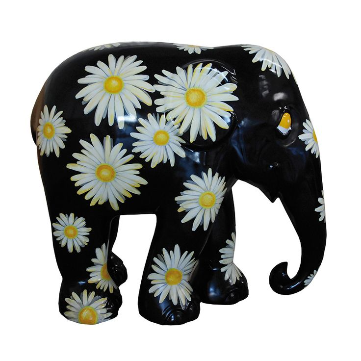 Elephant Parade | 10 cm Daisies | Elephant Conservation | Collectible | Hand Painted | www.homearama.co.uk