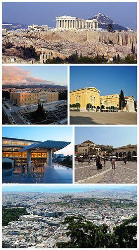 Athens, Greece: the Acropolis, the Hellenic Parliament, the Zappeion, the Acropolis Museum, Monastiraki Square, Athens view towards the sea.