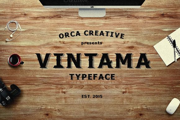 VINTAMA typeface A serif typeface with vintage and bold appereance. Suitable for any graphic design promotion things, like poster, t-shirt, brochure or any other else. Best combination with