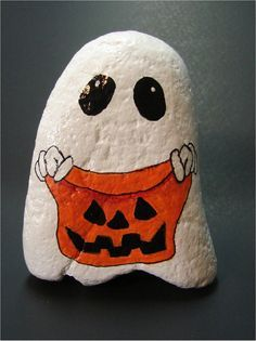 Halloween Trick-or-Treat Ghost jack-o-lantern sack hand painted rock, rock art, OOAK