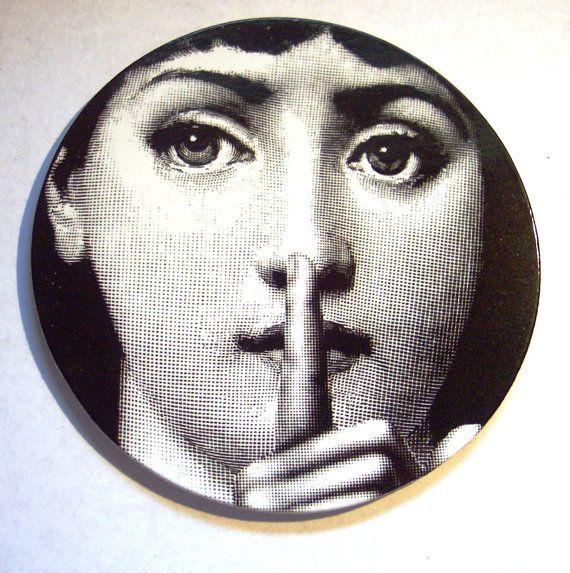 Noir & blanc Faces conception Coaster Set / Mid Art européen italien du XXe siècle / jeu de 4