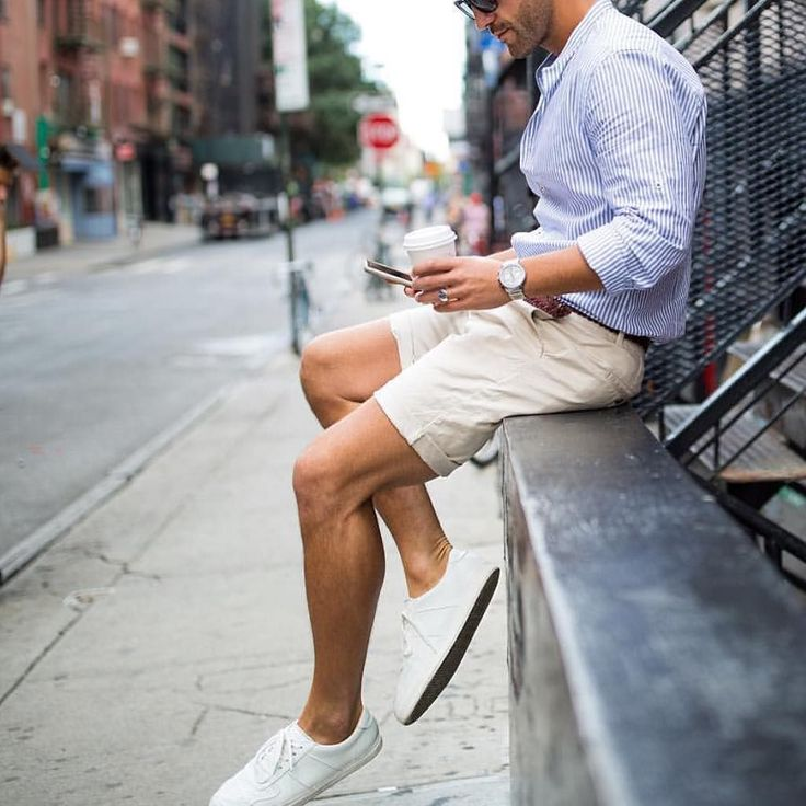 #NY outfit - striped blue shirt tanned shorts and white sneakers by @kosta_williams  [ http://ift.tt/1f8LY65 ]