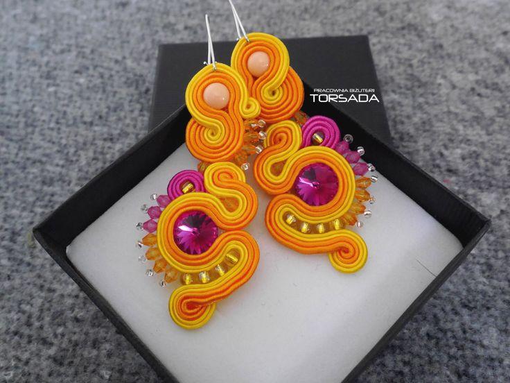 TORSADA - Kolczyki sutasz 265 kolorowe boho / Dangle soutache earrings with crystals