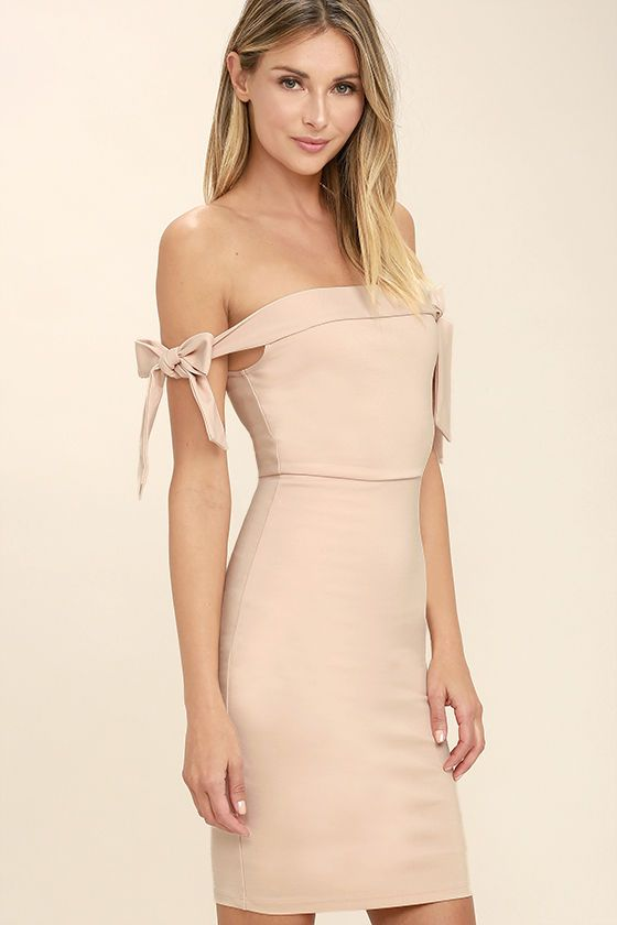 Lulus Exclusive! The much anticipated Cause a Commotion Blush Pink Off-the-Shoulder Dress is here and ready to party! This event ready dress is perfectly sexy as medium-weight stretch knit shapes an off-the-shoulder neckline with tying straps, atop a darted bodice and figure-flaunting skirt. Hidden back zipper.