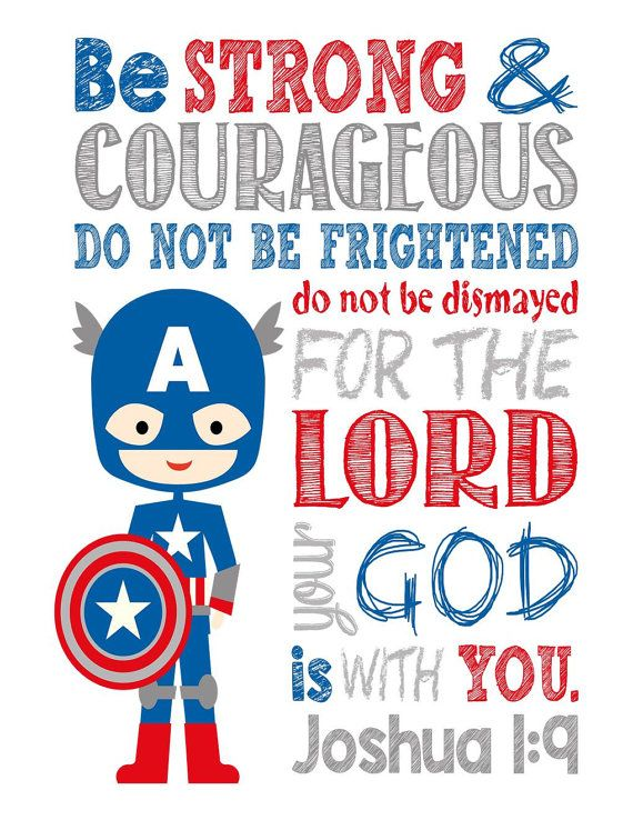 Super Hero Wall Art - Christian Print Captain America Nursery Decor - Be Strong & Courageous Joshua 1:9 Bible Verse - White Background