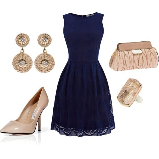 """Navy and Champagne"" by capellaweasley on Polyvore - Click image to find more Women's Fashion Pinterest pins"