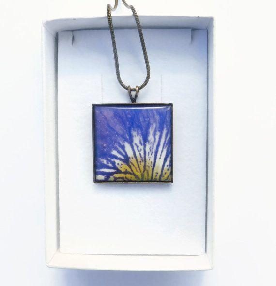 Purple Flower Necklace Purple Flower Jewelry Purple Iris