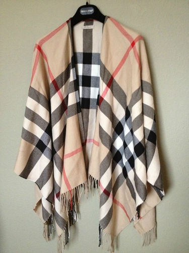 Burberry Plaid Cape with Fringed Edges 100 Merino Wool O S | eBay  I've seen a scarf in this pattern. It was super cute!