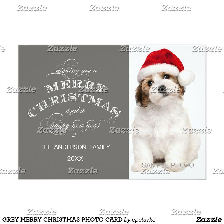 GREY MERRY CHRISTMAS PHOTO CARD